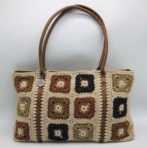 The Sak Crochet Zip Closure Tote Shoulder Bag